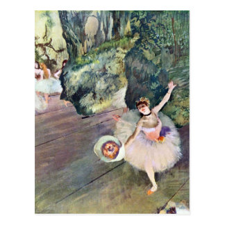 Carte Postale Edgar Degas - danseur avec un bouquet des fleurs