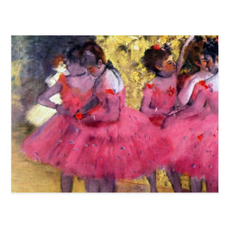 Carte Postale Edgar Degas - danseurs dans le rose entre les