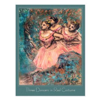 Carte Postale Edgar Degas trois danseurs dans le costume rouge