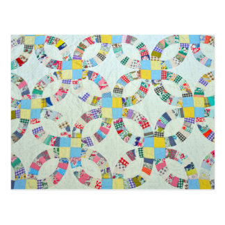 Carte Postale Édredon de patchwork coloré
