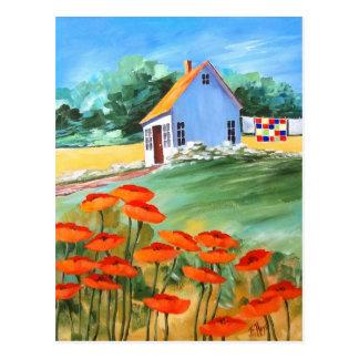 Carte Postale Édredon et pavots de cottage