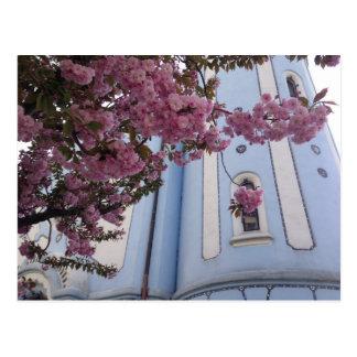 Carte Postale Église bleue + Fleur