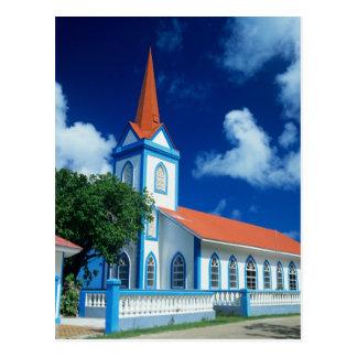 Carte Postale Église colorée sur l'île de Tahaa dans