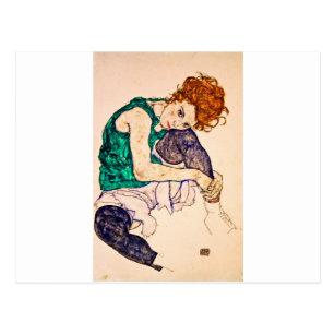Carte Postale Egon Schiele - femme assise avec des jambes