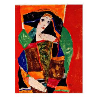 Carte Postale Egon Schiele - portrait d'une femme