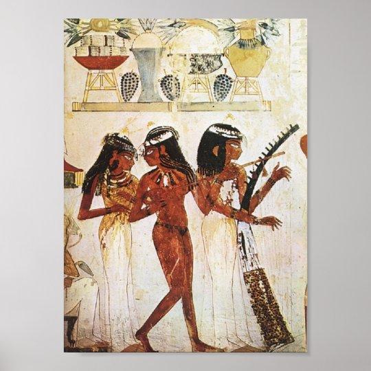 Carte postale égyptienne de musiciennes de femmes posters