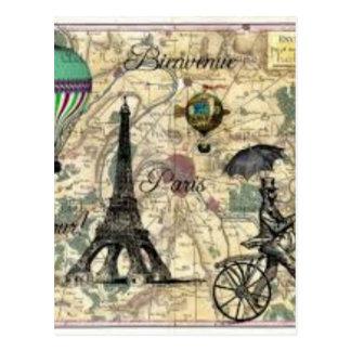 Carte Postale Eiffel Tower vintage Paris