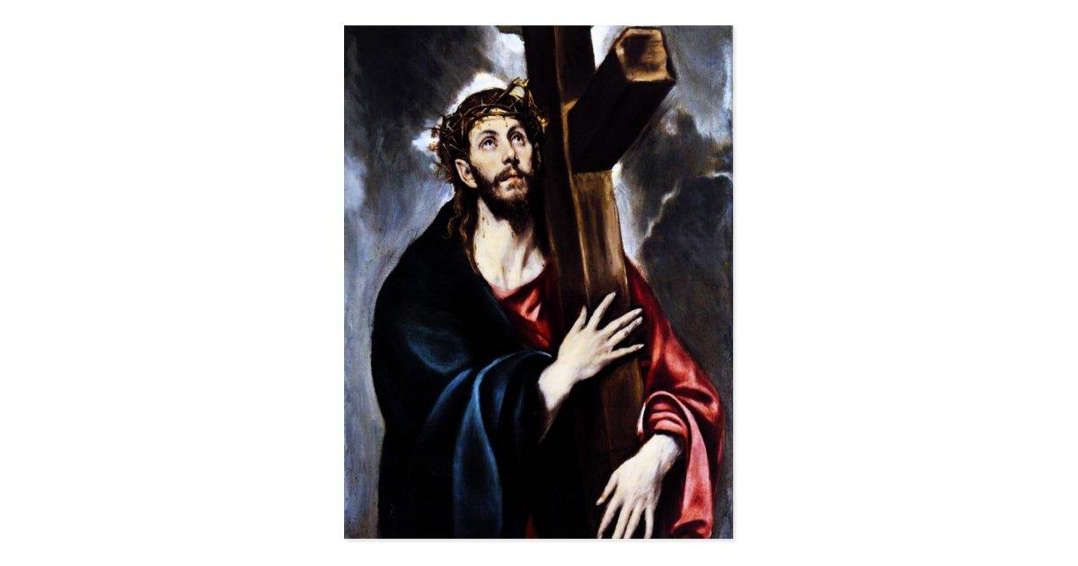carte postale el greco le christ portant la croix. Black Bedroom Furniture Sets. Home Design Ideas
