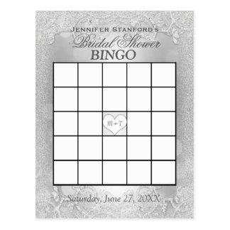 Carte Postale Élégance argentée nuptiale du bingo-test | de