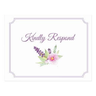 Carte postale élégante du bouquet floral RSVP