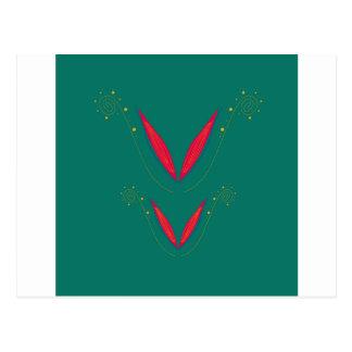 Carte Postale Éléments de conception rouges sur l'ethno vert