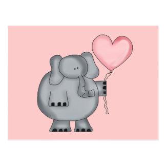 Carte Postale Éléphant avec le ballon de coeur