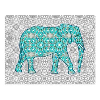Carte Postale Éléphant de fleur de mandala - turquoise, gris et