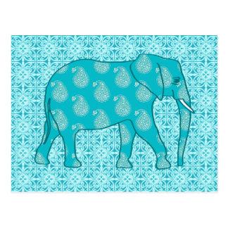 Carte Postale Éléphant de Paisley - turquoise et aqua
