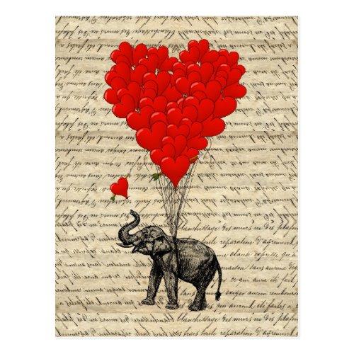Carte Postale Éléphant et ballons en forme de coeur