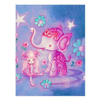 Carte Postale Éléphant mignon avec la fille d'une chevelure rose
