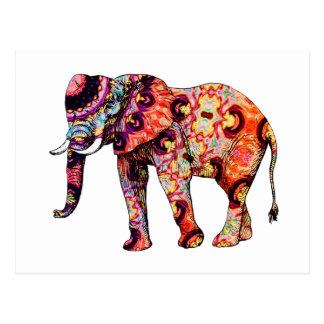 Carte Postale Éléphant psychédélique coloré d'art déco