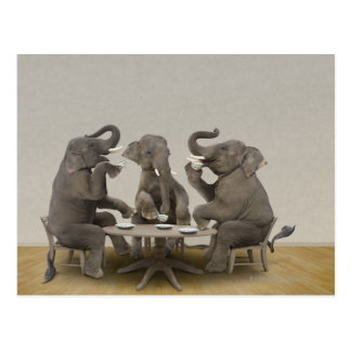 Carte Postale Éléphants ayant le thé