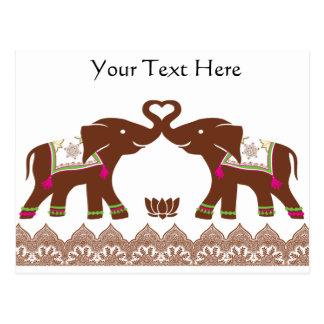 Carte Postale Éléphants roses d'amour de henné