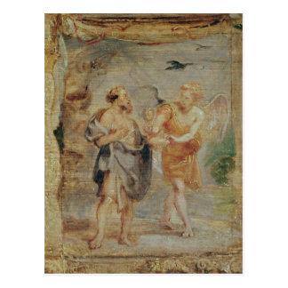 Carte Postale Élijah recevant le pain et l'eau d'un ange