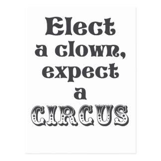 Carte Postale Élisez un clown, attendez un cirque ! Anti atout