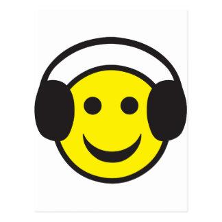 Carte Postale Éloge souriant de visage d'écouteur