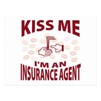 Carte Postale Embrassez-moi que je suis un agent d'assurance