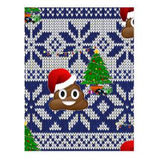 Carte Postale emoji laid de dunette de chandail de Noël