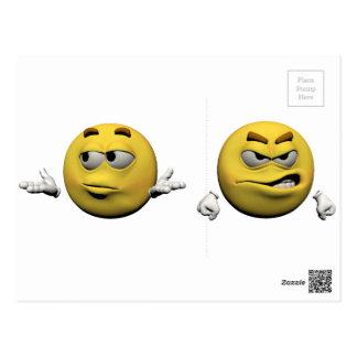 Carte Postale Émoticône fâchée jaune ou smiley