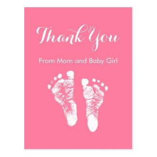 Carte Postale Empreintes de pas nouveau-nées roses mignonnes de