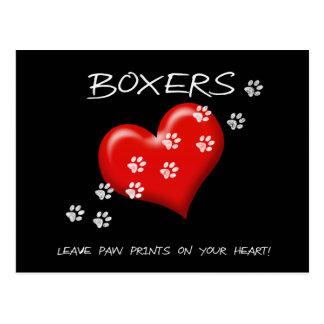Carte Postale Empreintes de pattes de congé de boxeurs sur la