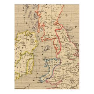 Carte Postale En 1100 d'Angleterre, d'Ecosse, d'Irlande et