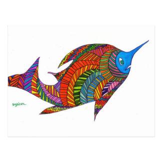 Carte postale en arête de poisson de poissons de