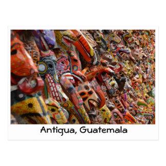 Carte postale en bois de masques de l'Antigua,
