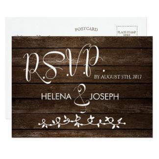 Carte postale en bois rustique de réponse de foi