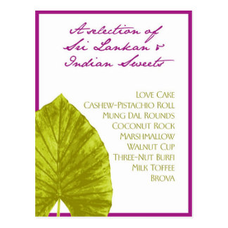 Carte postale en feuille de palmier de sac de