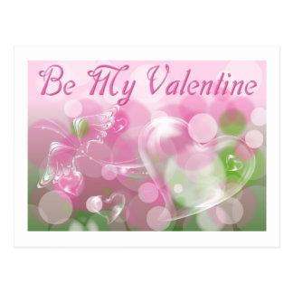 Carte postale en verre de Valentine de coeur et de