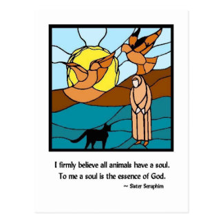 Carte postale en verre souillé de Seraphim de