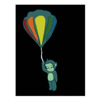 Carte Postale encre chaude de ballon à air de singe
