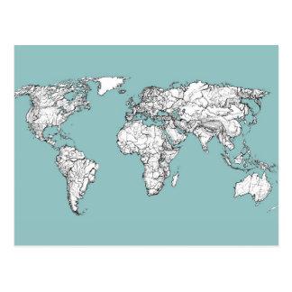 Carte Postale Encre de turquoise de la terre