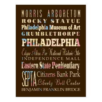 Carte Postale Endroits célèbres de Philadelphie, Pennsylvanie