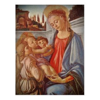 Carte Postale Enfant de Madonna le Christ et deux anges