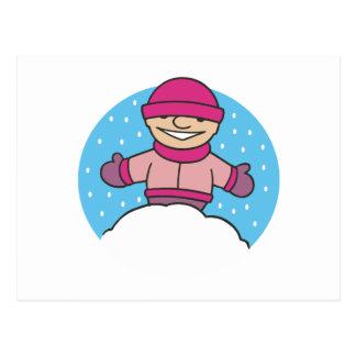 Carte Postale Enfant de neige