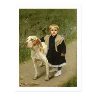 Carte Postale Enfant en bas âge et un grand chien (huile sur la