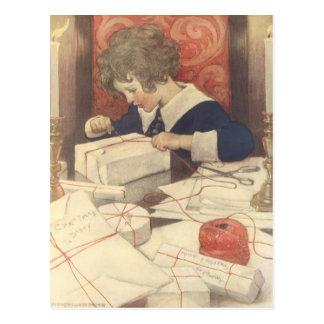 Carte Postale Enfant vintage de réveillon de Noël, Jessie