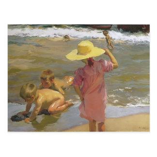 Carte Postale Enfants de Joaquín Sorolla- sur le bord de la mer