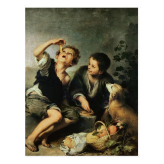 Carte Postale Enfants mangeant un tarte, 1670-75