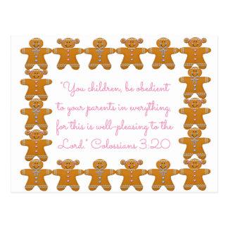 Carte Postale Enfants obéissants aux parents