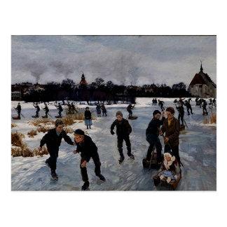 "Carte Postale ""Enfants patinant en dehors de Faaborg,"""