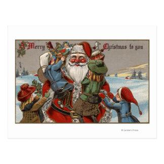 Carte Postale Enfants s'élevant sur Père Noël